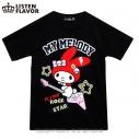 【グッズ-Tシャツ】サンリオ×LISTEN FLAVOR マイメロディのロックスターTシャツ BLACK-Mの画像