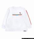 【グッズ-Tシャツ】ガンダム×ハローキティ 超ミニマルガンダムグラフィック×キティリボン ロンT WHT Lの画像