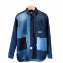 【グッズ-Tシャツ】ゆるキャン△ WILDERNESS EXPERIENCEコラボ デニムエプロンバッグシャツ XL【アクロス】の画像