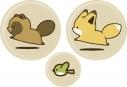 【グッズ-バッチ】特価 タヌキとキツネ 缶バッジセット(かけっこ)の画像