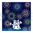 【グッズ-ハンカチ】夏目友人帳 ニャンコ先生タオルハンカチ/花火の画像