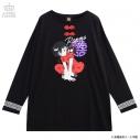 【グッズ-Tシャツ】らんま1/2×LISTEN FLAVOR らんまとPちゃんチャイナロンT BLACKの画像