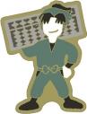 【グッズ-ピンバッチ】忍たま乱太郎 アニメ版・ピンズ ゆるパレット 潮江文次郎 OS記念【再販】の画像