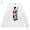 【グッズ-Tシャツ】地獄少女×LISTEN FLAVOR 地獄少女ロングカットソー 02.WHITEの画像