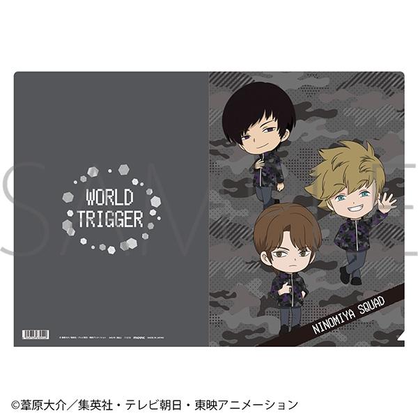 ワールドトリガー クリアファイル/迷彩 ミニキャラ 二宮隊_0
