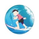【グッズ-バッチ】おそ松さん WE ARE SURFERS デカンバッチ おそ松の画像
